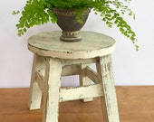 Farmhouse Milking Stool Rustic Stool or Plant Stand Chippy and One of A Kind