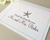 Starfish Wedding Thank You Cards Personalized New Mr and Mrs Set with Envelopes