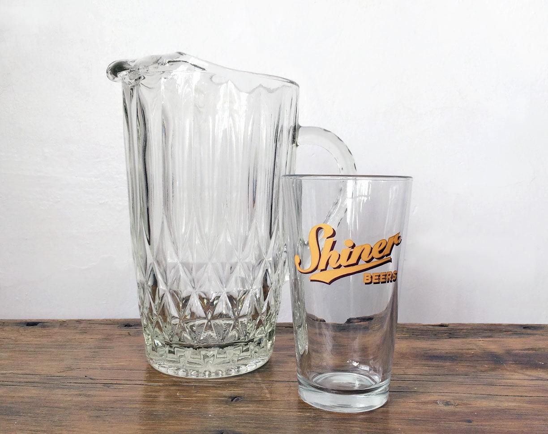 vintage glass beer pitcher heavy and solid. Black Bedroom Furniture Sets. Home Design Ideas