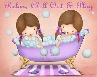 Bathroom Wall Decor for Girls, Bath Poster Art Print, Children's Illustration Relax Chill Out Play Sisters Bathroom Artwork Custom Hair Skin