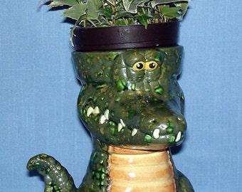 Ceramic Alligator Flower Pot 7 inch, Succulent Planter, Herb Pot, Cactus Pot, Gator Nation, Candy Dish