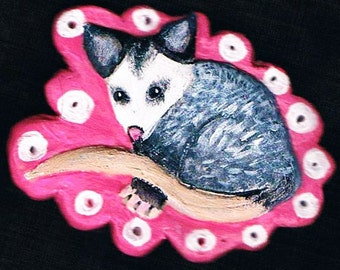 Opossum Brooch,  Possum Brooch, Opossum Pin,  Gift for Pet Lover, Polymer Clay Jewelry, Unique Valentine's Day Gift