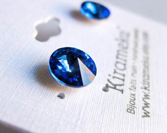 Saphire Blue Rivoli Stud Earrings, Crystal Post Earrings, 8mm Swarovski cristal stud Earrings, Stainless Steel Post Earrings, Bridal earring