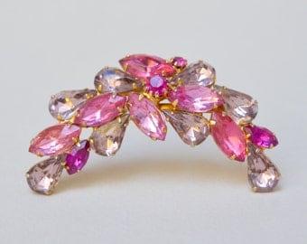 Vintage Hot Pink Glass Pin . Dark Pink Rhinestones . Prong Set. Pin . Brooch