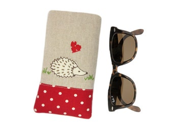 Hedgehog Glasses Case, Mothers Day Gift, Sunglasses Pouch, Soft Glasses Case