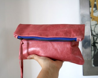Italian leather clutch bag, leather pouch, leather bag lined purse, READY TO SHIP