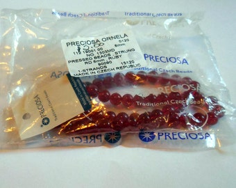 8mm Red Glass Czech Beads: New in package!