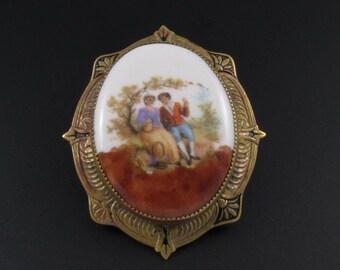 Porcelain Painted Brooch, Porcelain Brooch, Portrait Brooch, Lovers Brooch, Brass Brooch, Framed Brooch