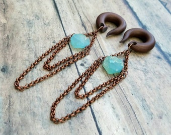 Copper Hammered Aqua Chalcedony Stone Chandelier Gauges