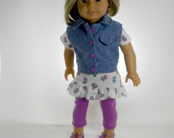 18 inch doll clothes made to fit dolls such as American Girl®, Three Piece Outfit, tunic, leggings and denim vest, 01-0801