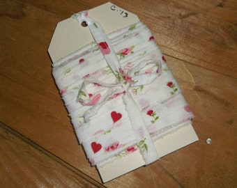 Hand Torn vintage Hearts & Rose ribbon • over 14 yards X 1/2 inch