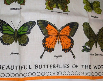 2 Vintage Beautiful BUTTERFLIES Of THE WORLD Linen Kitchen Towels