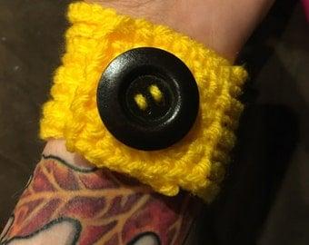 Sunshine Yellow Crochet Bracelet Wrist Cuff with Button - READY TO SHIP