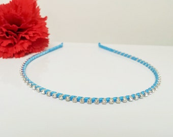 Light Cyan Blue Satin Ribbon Enhanced Rhinestone Bridal Headband for Bridesmaid, Prom, Flower Girl or Wedding Party