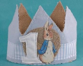 Shabby Chic Peter Rabbit birthday crown, first birthday crown, G050 birthday photo prop