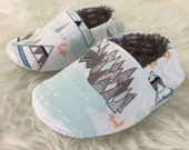 Mountains & Foxes Baby Bootie - Elastic Back - Made to Order