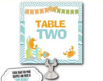 Table Number Cards, Food Buffet Table Cards, Table Signs, Birthday, Under the Ocean, Sea Creatures, Little Fish, Aqua and Yellow