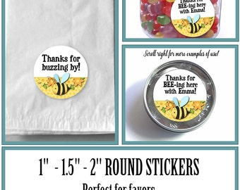 "1"", 1.5"" or 2""  Stickers, Labels, Favor Stickers, Little Baby Bees Design, Yellow and Black, Flowers, Baby Shower, Birthday"