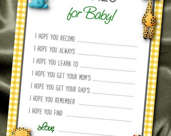 10 Wishes for Baby Cards, Baby Shower Party Games, Activity Game Cards, Baby Jungle Animals, Wild Animals, Yellow