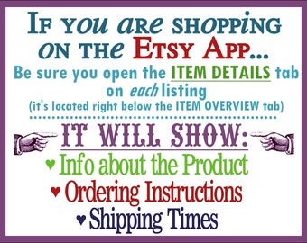 MobileUsers Read the ITEM DETAILS Tab On Each Listing for All Product Info, Ordering Instructions & Shipping Times