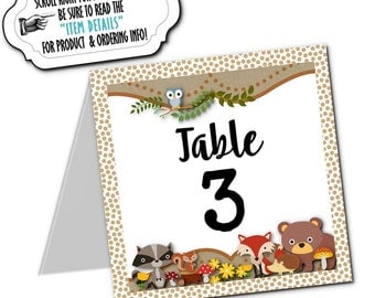 Table Number Cards, Food Labeling Cards, Table Signs, Baby Woodland Animals, Fox, Raccoon, Squirrel, Hedgehog, Baby Shower, Birthday Party