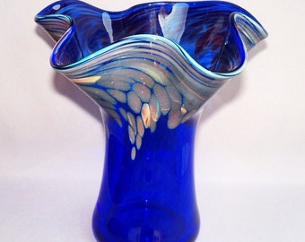 Hand Blown Art Glass  Vase , Cobalt Blue ,Chalcedony Pattern, Flared Top