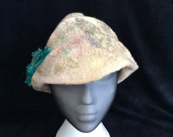 Wet felted merino wool and silk thread hand dyed cloche styled hat