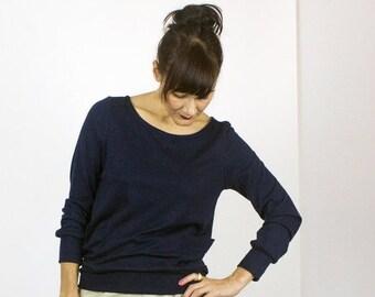 Black Friday SALE Pocket Pullover / Long sleeve BAMBOO rib pullover sweatshirt top with pockets / Marine Navy Blue & Deep Plum