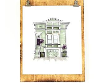 DIGITAL CUSTOM color House Portrait, Wedding Venue, Landmark, Color House Illustration, Hand Drawn Printable Art, House Warming