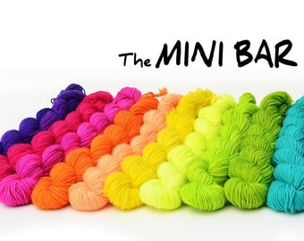Mini skeins bar - you pick custom color combinations - hand dyed sock yarn