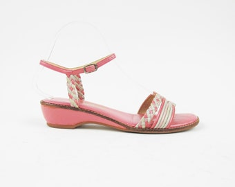 70s 80s Pink Wedge Sandals Braided Leather Sandals Pink Leather Sandals Vintage Womens Ankle Strap Summer Boho Wedge Sandals Size 6.5 E4039