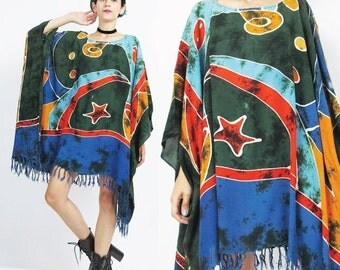 25% off SALE Hippie Caftan Dress Plus Size Kaftan Dress Boho Tie Dye Beach Dress Slouchy Summer Muu Muu Boho Ethnic Draped Wide Fringe Hem D
