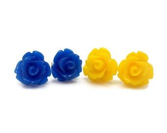Rose Earring Studs Yellow Rose Earrings Blue Rose Earrings Pretty Earrings Nautical Colors Earrings Blue and Yellow Earrings Rosette Earring