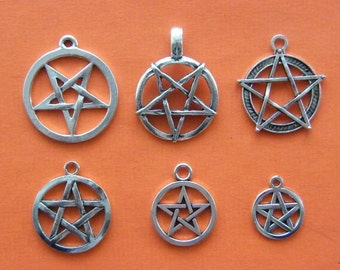The Pentacle Pentagram Collection - 6 antique silver tone charms