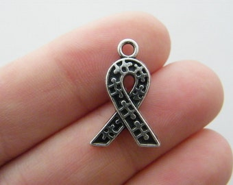 4 Autism awareness ribbon charms antique silver tone M555