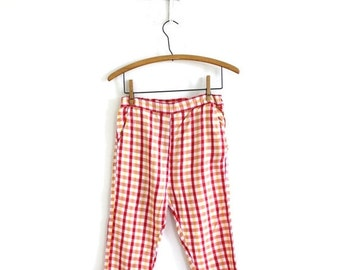 ON SALE 1960s Capri Pants / 50s 60s Red Gingham Plaid High Waisted Pedal Pushers