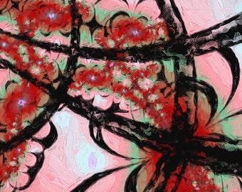 Abstract Art Print - garden gate - digital painting, fractal art, home decor, wall art, dorm decor, pink black red mint green, home styling