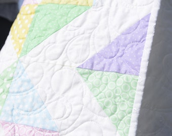 Homemade Baby Quilt Girl Cool Pastel Blocks Heirloom