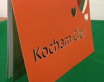 I love you in Polish - Kocham Cię - paper cut card
