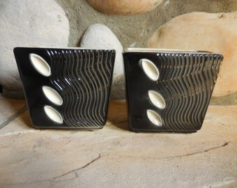 A Pair of Mod Vintage Black and White Planters Vases