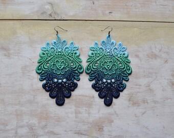 California's sky lace earrings/ Lace earrings/ Long earrings/Ombre earrings/Ombre hand dyed/ rusteam, tt team