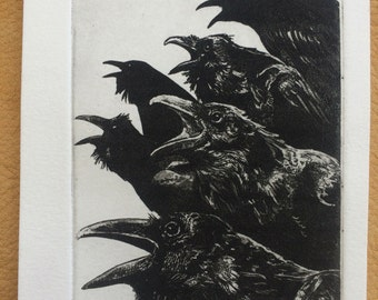 Raven artwork , Raven, crow,  Etching in black ink 2016