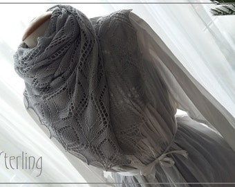 Sterling, PATTERN PDF for a rectangle lace shawl Beginners