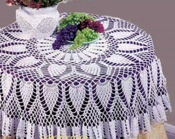 """Pineapple Table Topper. Tablecloth, Size 55"""", Vintage Crochet Pattern, INSTANT DOWNLOAD PDFRound"""