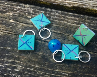 PDX Airport Carpet Lego Stitch Markers - Set of Five