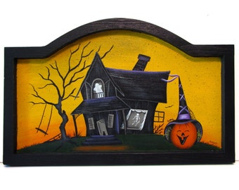 Halloween Haunted House Framed Arched Sign, Handpainted Wood, Hand Painted Home Decor, Wall Art, Tole Decorative Painting, B2