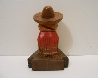 60's-70's Mexican Wood Match Holder with Sombrero or Home Decor