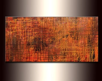 Abstract Painting ,Original Modern Metallic Abstract Painting ,Contemporary Large Fine Art by Henry Parsinia 48x24