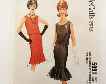 1960s Dress pattern, cocktail sleeveless dress uncut vintage sewing pattern, bottom flounce wiggle skirt McCalls 5991 misses size 14 bust 34
