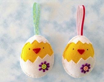 Felt Easter ornament, kids chick in egg, unbreakable decoration, Easter basket filler, you pick one